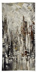 Beach Towel featuring the painting Steam Over Gotham by Tatiana Iliina