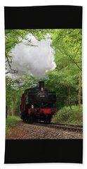 Steam Train Approaching In The Forest Beach Towel by Gill Billington