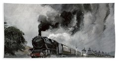 Steam Train At Garsdale - Cumbria Beach Sheet by John Cooke