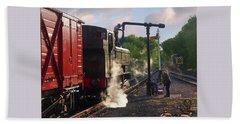 Steam Train Taking On Water Beach Towel by Gill Billington