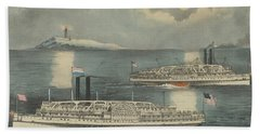 Steamboats Passing At Midnight On Long Island Sound Beach Towel