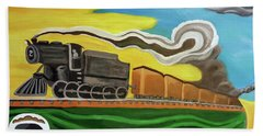 Beach Towel featuring the painting Steaming West Bound by Margaret Harmon