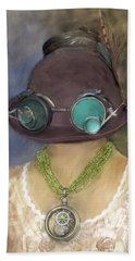Steampunk Beauty With Hat And Goggles - Square Beach Sheet