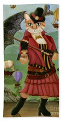Beach Towel featuring the painting Steampunk Cat Gal - Victorian Cat by Carrie Hawks