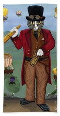 Beach Towel featuring the painting Steampunk Cat Guy - Victorian Cat by Carrie Hawks