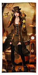 Steampunk Girl Beach Towel