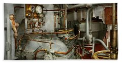 Beach Towel featuring the photograph Steampunk - In The Engine Room by Mike Savad