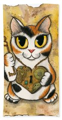 Steampunk Valentine Cat Beach Towel