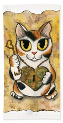 Steampunk Valentine Cat Beach Towel