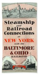Steamship And Railroad Connections At New York Beach Towel