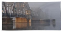 Steel Bridge In Fog Beach Towel