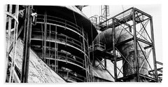 Steel Mill In Black And White - Bethlehem Beach Towel by Bill Cannon