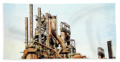 Steel Stack Blast Furnaces Beach Towel