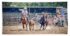 Beach Towel featuring the photograph Steer Wrestling With An Audience by Darcy Michaelchuk