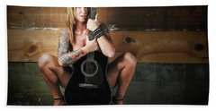 Stephanie W/guitar Beach Towel