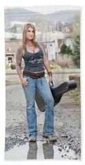 Stephanie Guitar Standing 1 Beach Towel