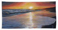 Beach Sheet featuring the painting Stephanie's Sunset by Donna Tuten