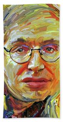 Stephen Hawking Tribute Portrait 4 Beach Sheet