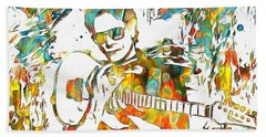 Steve Vai Paint Splatter Beach Towel