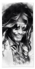 Steven Tyler Illustration  Beach Sheet by Scott Wallace