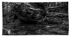 Beach Towel featuring the photograph Stevensville Brook In Underhill, Vermont - 1 Bw by James Aiken