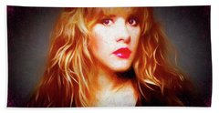 Stevie Nicks Drawing Beach Towel by Michael Cleere