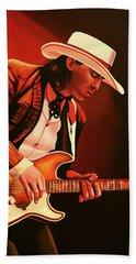 Stevie Ray Vaughan Painting Beach Towel by Paul Meijering