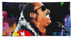 Beach Towel featuring the painting Stevie Wonder Live by Richard Day