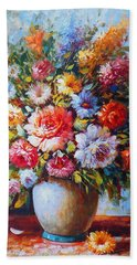 Still Life Colourful Flowers In Bloom Beach Sheet