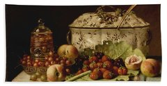 Still Life  Fruit And Dishes  Late 19th Century Oil On Panel Gottfried Schultz  German  1842  1919 Beach Towel