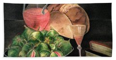Still Life Of Figs, Wine, Bread And Books Beach Sheet