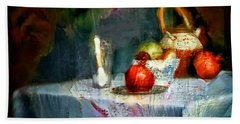 Still Life Oil Painting Table With Pomegranate Ceramic Kettle Glass Knife And Bowl Of Fruit Pears Linen Sketch Painting Life Drawing Beach Towel