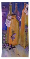 Still Life Olive Oil And Olive Twigs Beach Towel