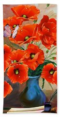 Still Life Poppies Beach Sheet