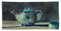 Still Life Teapot And Sugar Bowl Beach Sheet