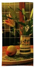 Beach Towel featuring the photograph Still Life With Apple by Anne Kotan