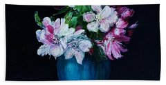 Still Life With Apple Tree Flowers In A Blue Vase Beach Towel