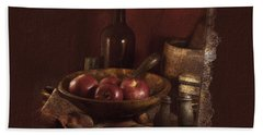 Still Life With Apples, Bottles, Baskets And Shakers. Beach Towel