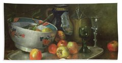 Still Life With Apples Beach Towel by Eugene Henri Cauchois