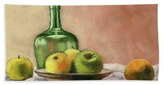 Still Life With Bottle Beach Towel by Janet King