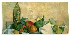 Still Life With Bottle Of Liqueur Beach Sheet by Paul Cezanne