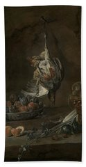 Still Life With Dead Pheasant Beach Sheet by Jean-Baptiste-Simeon Chardin