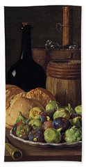Still Life With Figs And Bread Beach Sheet