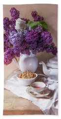 Beach Towel featuring the photograph Still Life With Fresh Lilac And China Pots by Jaroslaw Blaminsky