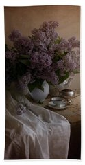 Still Life With Fresh Lilac And Dishes Beach Towel