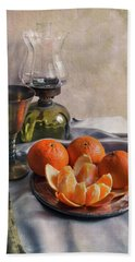 Beach Towel featuring the photograph Still Life With Fresh Tangerines And Oil Lamp by Jaroslaw Blaminsky