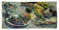 Still Life With Fruit Beach Towel by Paul Gauguin