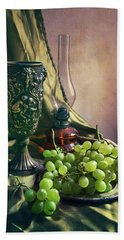 Beach Towel featuring the photograph Still Life With Green Grapes by Jaroslaw Blaminsky