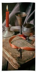 Beach Towel featuring the photograph Still Life With Old Book And Metal Dishes by Jaroslaw Blaminsky