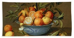 Still Life With Oranges And Lemons In A Wan-li Porcelain Dish  Beach Towel by Jacob van Hulsdonck